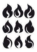 Set of 9 black fires for design or tattoo  — Stock Vector