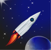 Rocket in interstellar space — Stock Vector