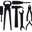 Set of silhouettes of tools — Stock Vector #50709893