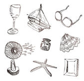 Vector set of vocation icons. Wine glass, boat, sunglasses, fan, — Stock Vector