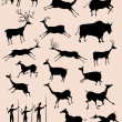 Cave rock painting animals silhouettes vector set — Stock Vector