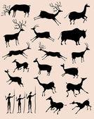 Jaskinia rock zwierząt malarstwo sylwetka wektor zestaw — Wektor stockowy