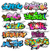 Graffiti wall vector urban art — Stock Vector