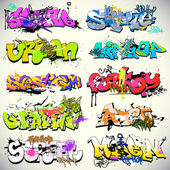 Graffiti wall vector urban art — Stok Vektör