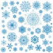 Snowflakes Christmas vector icons. Snow flake collection graphic — Stock Vector