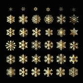 Płatki śniegu świąt wektorowe ikony. płatek śniegu kolekcja grafiki — Wektor stockowy