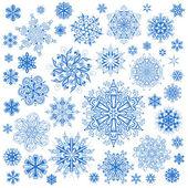 Sneeuwvlokken kerst vector iconen. sneeuw vlok collectie afbeelding — Stockvector