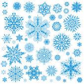 Icone vettoriali di fiocchi di neve natale. grafico raccolta fiocco di neve — Vettoriale Stock
