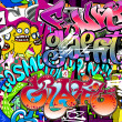 Stock Vector: Graffiti wall. Urban art vector background. Seamless hip hop tex