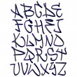 Graffiti font alphabet letters. Hip hop type grafitti design — Stock Vector #21389227