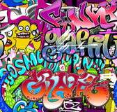 Graffiti wall. Urban art vector background. Seamless hip hop tex — Stock Vector