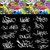 Graffiti font tags urban illustration set. Hip hop art design — Stock Vector