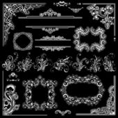 Wedding frames decoration design. Floral ornaments, corners and — Stockvektor