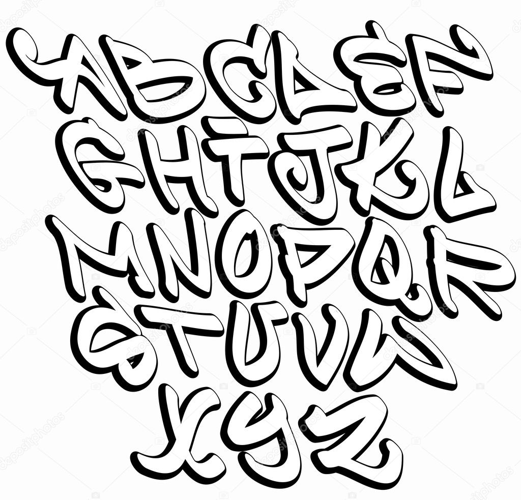 Graffiti Font Alphabet Letters Hip Hop Type Grafitti Design Stock