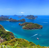 Tropical island nature, Thailand sea archipelago aerial panorami — Stock Photo