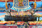 Abstract and colorful religion Buddhist altar in traditional tem — Stock Photo