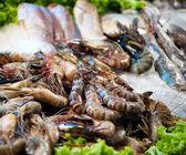 Fischmarkt. close-up foto von garnelen und rohem fisch — Stockfoto