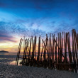 Low tide and bamboo sticks at sunrise — Stock Photo #32280315