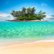Tropical island and sand beach exotic travel background landscap — Stock fotografie
