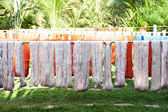 Drying silk in traditional textile factory — Stock Photo