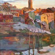 The city landscape of Vitebsk drawn with oil on a canvas — Stock Photo