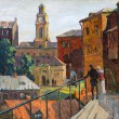 City landscape of Vitebsk drawn with oil on canvas — Stock Photo #13464611