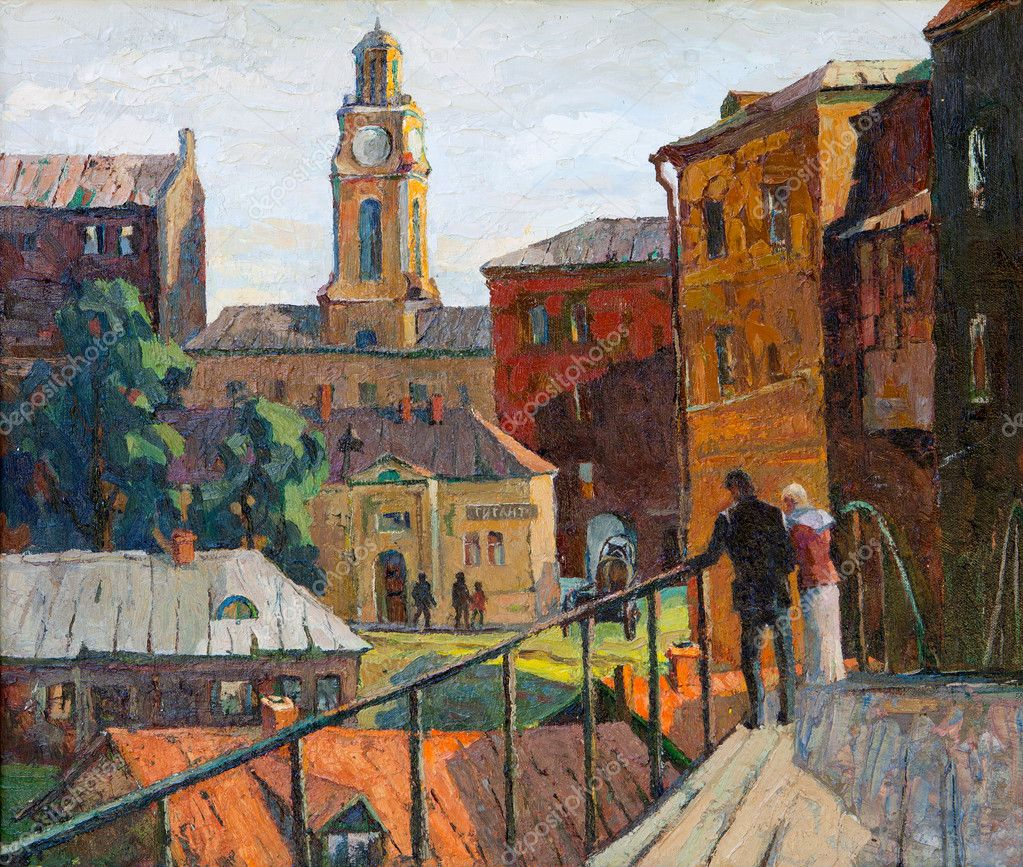 The city landscape of Vitebsk drawn with oil on a canvas — Stock Photo #13464611