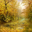 Beautiful autumn landscape, canvas, oil — Stock Photo