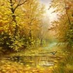 Beautiful autumn landscape, canvas, oil — Stock Photo #13593317