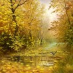 Beautiful autumn landscape, canvas, oil — Stock Photo