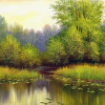 Beautiful summer landscape, canvas, oil — Stock Photo #13593427