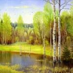 Autumn landscape, canvas, oil — Stock Photo