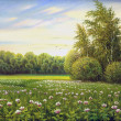 Beautiful summer landscape, canvas, oil — Stock Photo #13594437
