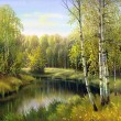 Autumn landscape, canvas, oil — Stock Photo
