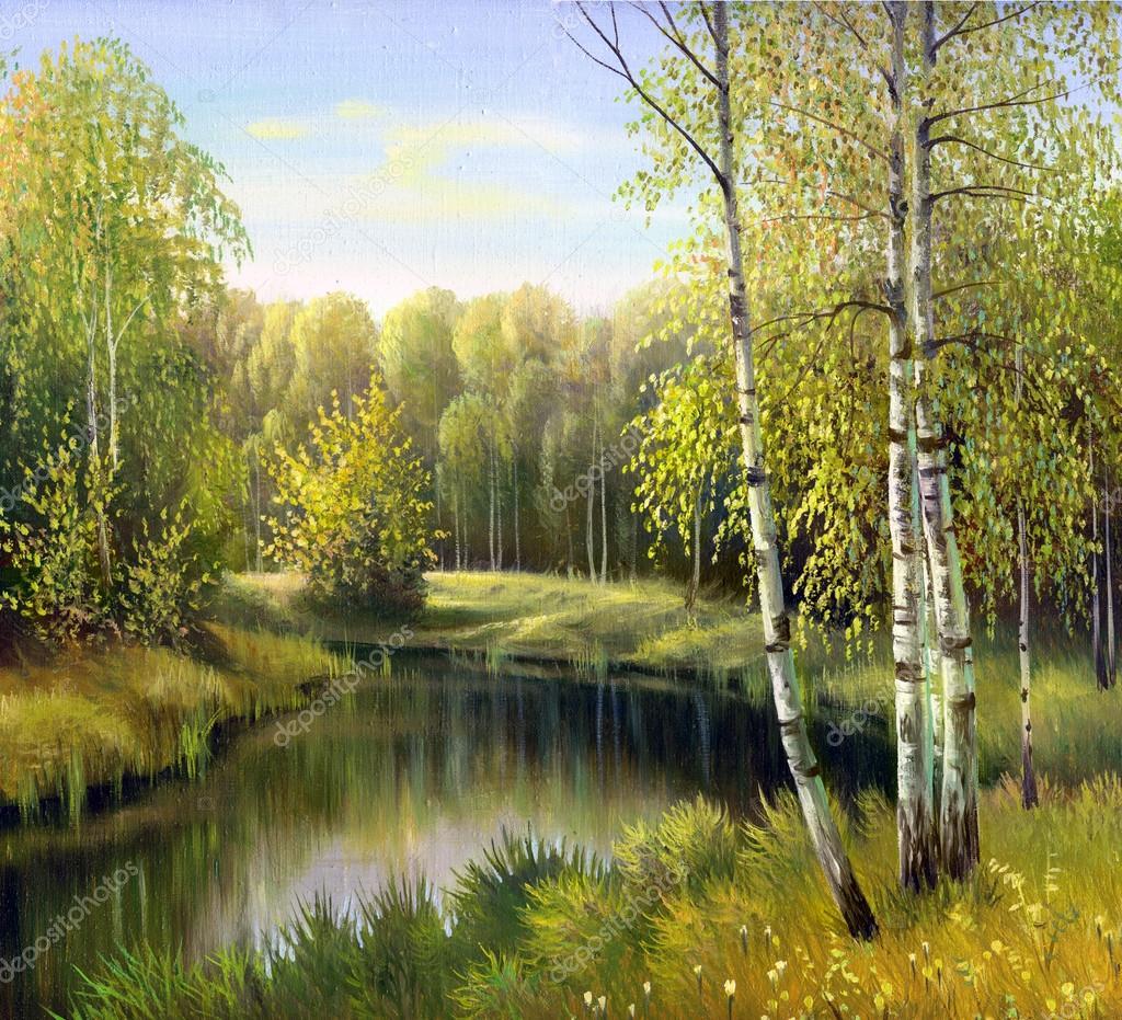 Фотообои Осенний пейзаж, холст, масло