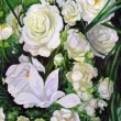 Bouquet of white roses, canvas, oil - Stock Photo