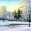 Beautiful winter landscape, canvas, oil — Stock Photo #13615646