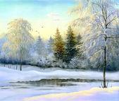 美丽的冬天风景、 帆布、 油 — 图库照片