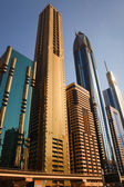 DUBAI, UAE - OCTOBER 23: View at Sheikh Zayed Road skyscrapers i — Stock Photo