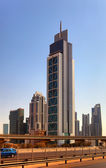 DUBAI, UAE - OCTOBER 23: View at Sheikh Zayed Road skyscrapers — Stock Photo