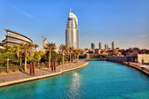 DUBAI, UAE - OCTOBER 23: Address Hotel and Lake Burj Dubai — Stock Photo