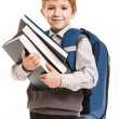 Schoolboy with backpack holding books - Stock Photo