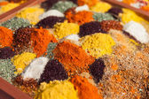 Pepper powder herbal spice condiment ingredients at food market — Stock Photo