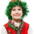 Little smiling child boy in gnome or elf costume — Stock Photo #38514087