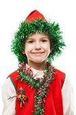 Little smiling child boy in gnome or elf costume — Stock Photo