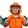 Stock Photo: Little smiling child boy engineer or manual worker
