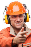 Engineer or manual worker man in safety hardhat helmet white iso — Stock Photo