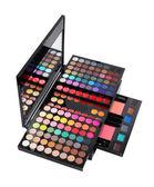 Luxury big cosmetic palette kit isolated on white background. Eyeshadow, lip balm, compact powder. — Stock Photo