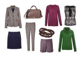 Set of color women clothes isolated on white — Stockfoto
