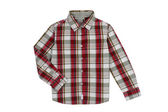 Red checkered boy shirt isolated on white — Stock Photo